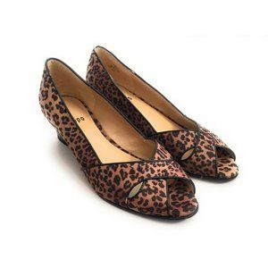 IMPO Felicity Leopard Open Toe Pony Wedges 7M